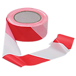 Ruban de signalisation pour chantier rouge et blanc   100 x 50 mm