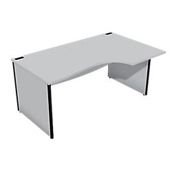 bureau compact 90 retour a gauche gamme cancun pieds panneux l160 x p80 100 x h72 cm gris par. Black Bedroom Furniture Sets. Home Design Ideas