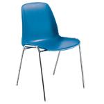 Chaise coque empilable   corps bleu & piétement chromé