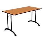 Table de réunion rectangulaire pliante  Table de réunion 140 (l) x 70 (P) x 74 (H) cm Noir, imitation poirier