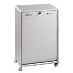Desserte mobile personnalisable   corps aluminium et rideau blanc   L.60 x H.90 x P.46 cm