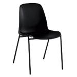 Chaise coque empilable   corps noir & piétement noir