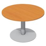 Table de réunion avec pieds tulipe aluminium et plateau poirier rs Pro Cancun 110cm (D) x 72cm (H) Aluminium, Imitation Poirier