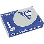 Ramette de papier couleur gris acier pastel de 500 feuilles   Clairefontaine Trophee   A4   80g