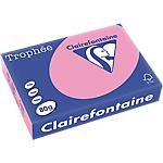 Ramette de papier couleur rose églantine pastel de 500 feuilles   Clairefontaine Trophee   A4   80g