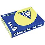 Ramette de papier couleur jaune fluo de 500 feuilles   Clairefontaine Trophee   A4   80g