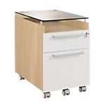 Caisson mobile 2 tiroirs dont un pour dossiers suspendus   Gamme Sliver   l.42 x p.62 x h.64 cm   coloris chêne
