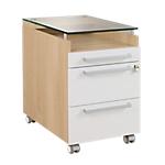 Caisson mobile 3 tiroirs dont un plumier   Gamme Sliver   l.42 x p.62 x h.64 cm   coloris chêne