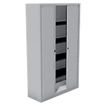 Armoire monobloc portes à rideaux H.198 cm   Gris Clair   4 tablettes   Dimensions : 198 x 43 x 120 cm
