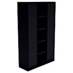 Armoire monobloc portes à rideaux H.198 cm   Noir   4 tablettes   Dimensions : 198 x 43 x 120 cm