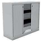 Armoire monobloc portes à rideaux H.100 cm   Gris Clair   2 tablettes   Dimensions : 100 x 43 x 120 cm