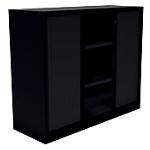 Armoire monobloc portes à rideaux H.100 cm   Noir   2 tablettes   Dimensions : 100 x 43 x 120 cm