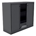 Armoire monobloc portes à rideaux H.100 cm   Anthracite   2 tablettes   Dimensions : 100 x 43 x 120 cm
