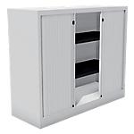 Armoire monobloc portes à rideaux H.100 cm   Blanc   2 tablettes   Dimensions : 100 x 43 x 120 cm
