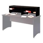 Surmeuble à poser sur table bureau pour former banque d'accueil  Syracuse 146 (L) x 40 (P) x 60 (H) cm Imitation Frêne noir