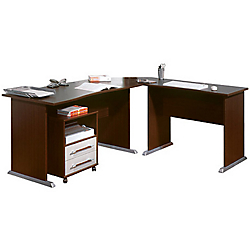 ensemble bureau retour angle de liaison caisson mobile 2 tiroirs germania werk tempo 190 l x 170. Black Bedroom Furniture Sets. Home Design Ideas