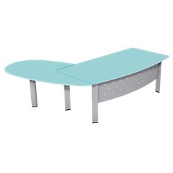 ensemble bureau direction et extension convivialite a droite pieds tube plateau verre gamme. Black Bedroom Furniture Sets. Home Design Ideas