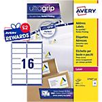 100 Feuilles d'étiquettes adresses Laser L7162   Avery   16