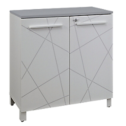 meuble de rangement bas gautier office gamme sunday portes blanc graphique top gris par office depot. Black Bedroom Furniture Sets. Home Design Ideas