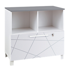 meuble de rangement bas gautier office gamme sunday tiroir blanc graphique top gris par office depot. Black Bedroom Furniture Sets. Home Design Ideas
