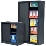 Kit armoires essentiel : 1 armoire haute + 1 armoire basse   Largeur 100 cm   Noir
