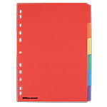 Intercalaires couleur   Office DEPOT    A4   6 Touches   Carte forte