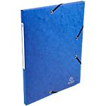 10 Chemises carte lustrée   Exacompta   3 rabats et élastiques   Bleu nuit