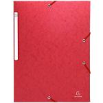 10 Chemises carte lustrée   Exacompta   3 rabats et élastiques   Rouge