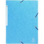 10 Chemises carte lustrée   Exacompta   3 rabats et élastiques   Bleu turquoise