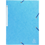 10 chemises carte lustrées à élastique 3 rabats Exacompta – Bleu