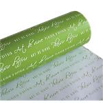 Papier cadeau réversible Papier  50m (L) x 70cm (l) Vert, blanc