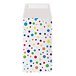 Pochettes cadeaux en papier Bulles multicolores sur fond blanc  12cm (H) x 22cm (l)   50