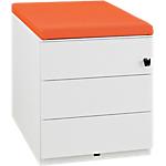 Caisson mobile   Gautier Office   Gamme Sunday   3 tiroirs   top mandarine en tissu