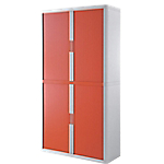 Armoire portes à rideaux   H. 204 x L. 110 cm   Paperflow   easyOFFICE   décor couleur rouge