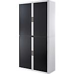 Armoire portes à rideaux   H. 204 x L. 110 cm   Paperflow   easyOFFICE   décor couleur noir