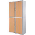 Armoire portes à rideaux   H. 204 x L. 110 cm   Paperflow   easyOFFICE   décor bois hêtre blanc