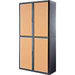 Armoire Paperflow easyOffice 2 040mm (H) x 1 100mm (l) x 204cm (H) Anthracite, Imitation Hêtre