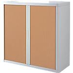 Armoire portes à rideaux   H. 104 x L. 110 cm   Paperflow   easyOFFICE   décor bois hêtre blanc