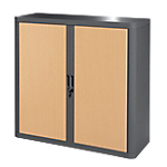 Armoire Paperflow easyOffice 1 040mm (H) x 1 100mm (l) x 104cm (H) Anthracite, Imitation Hêtre