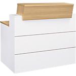 Comptoir banque droite Gautier Office Sunday 120 (L) x 110 (P) x 120 (H) cm Blanc, Imitation Chêne