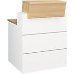 Comptoir banque droite Gautier Office SUNDAY Accueil 80 (L) x 110 (P) x 80 (H) cm Blanc, Imitation Chêne
