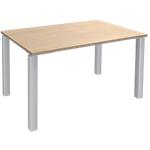 Bureau 4 pieds Blanc Expert Imitation Chêne 120 (l) x 80 (P) x 72,5 (H) cm Hauteur pas Réglable