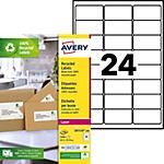 Étiquettes adresses recyclées Laser 24 étiquettes par feuille Avery LR7159  33,9 (H) x 63,5 (l) mm Blanc   2400