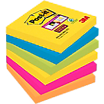 Notes adhésives Post it Super Sticky Rio 76 (H)  x  76 (l) mm Assortiment   6
