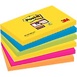 Notes adhésives Post it Super Sticky 76 (H)  x  127 (l) mm Assortiment   6