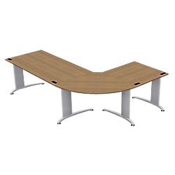 ensemble bureaux avec bureau droit angle a 90 retour integral 250 l x 170 p x 72 h cm imitation. Black Bedroom Furniture Sets. Home Design Ideas