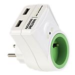 Chargeur USB Watt & Co 2 Sorties 2100mA + prolongateur de prise murale 16A Blanc