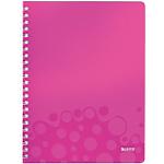 Cahier à spirale Leitz A4 WOW Quadrillé Petits carreaux 160 Pages Rose