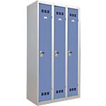 Vestiaire Industrie Propre Pierre Henry 3 colonnes 90 (L) x 50 (l) x 180 (H) cm Gris, bleu