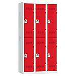 Vestiaires Multicases Pierre Henry 3 colonnes 90 (L) x 50 (l) x 180 (H) cm Gris, rouge